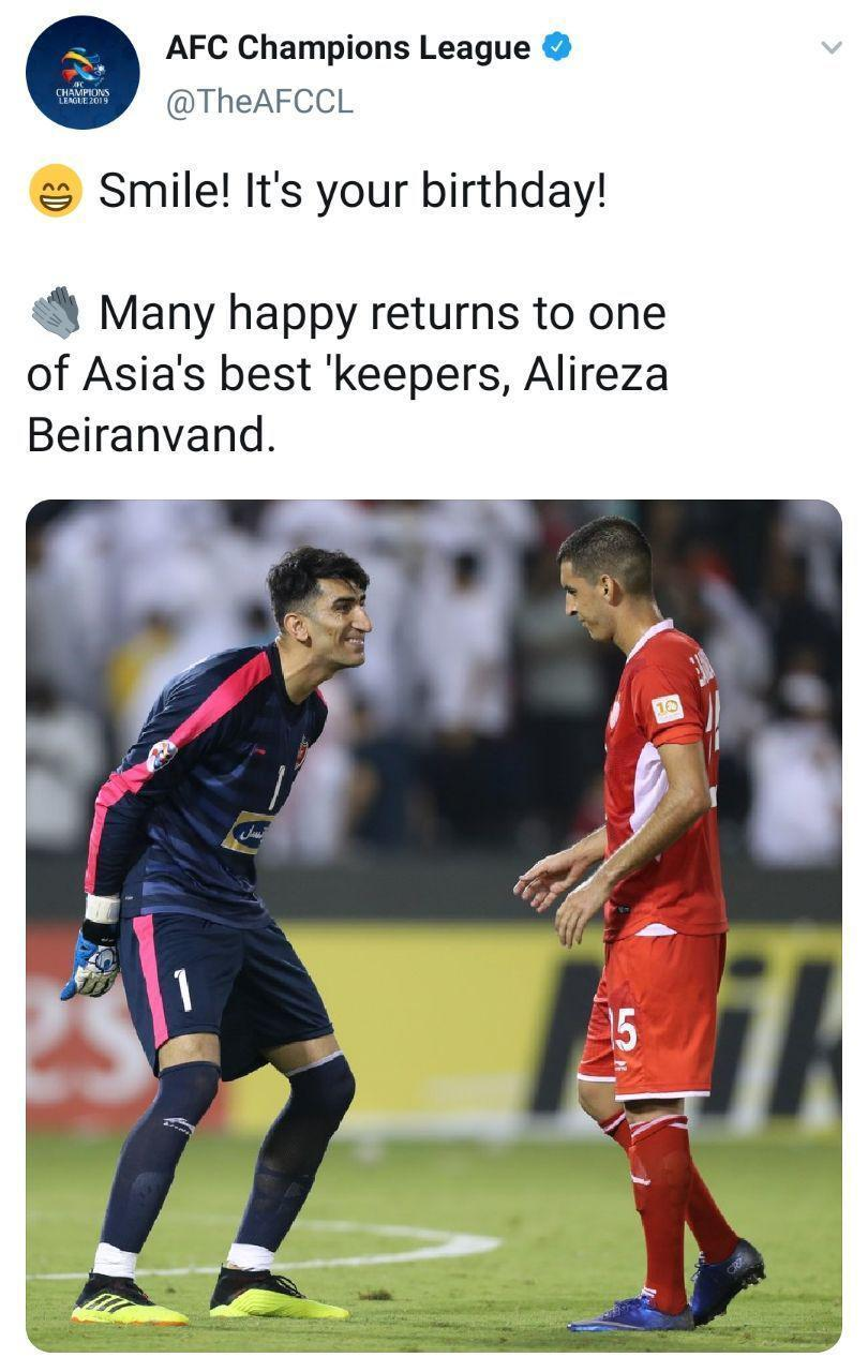 کنفدراسیون فوتبال آسیا تولد بیرانوند را تبریک گفت