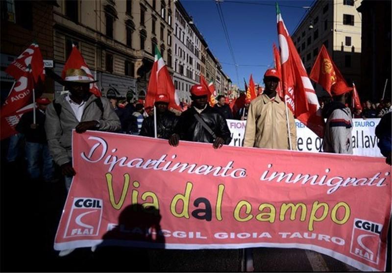 درگیری اتحادیه های کارگری ایتالیا با پلیس بر سر اصلاحات بازار کار