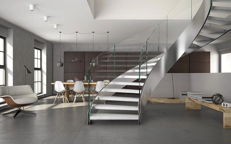 راه پله گرد در ساختمان